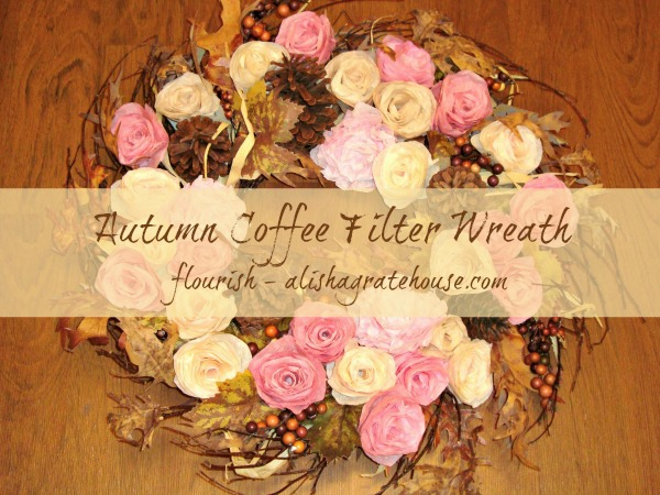 autumn coffee filter wreath