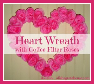 Heart Wreath with Coffee Filter Roses