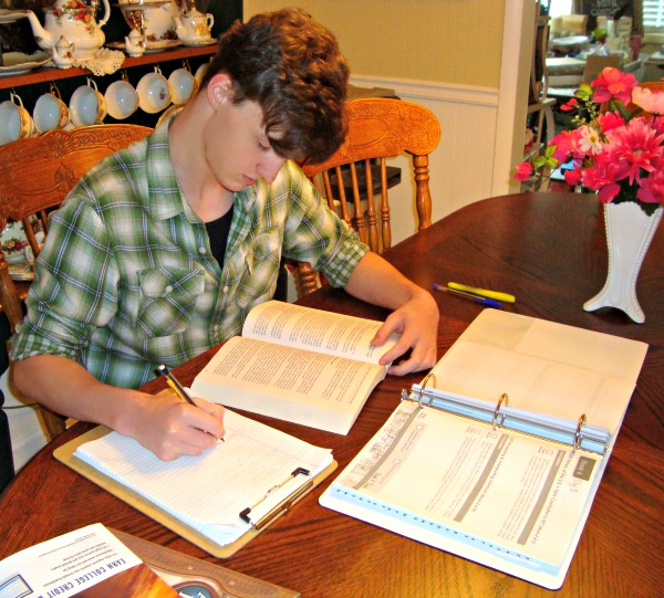 Alec studying with Dual Credit at Home