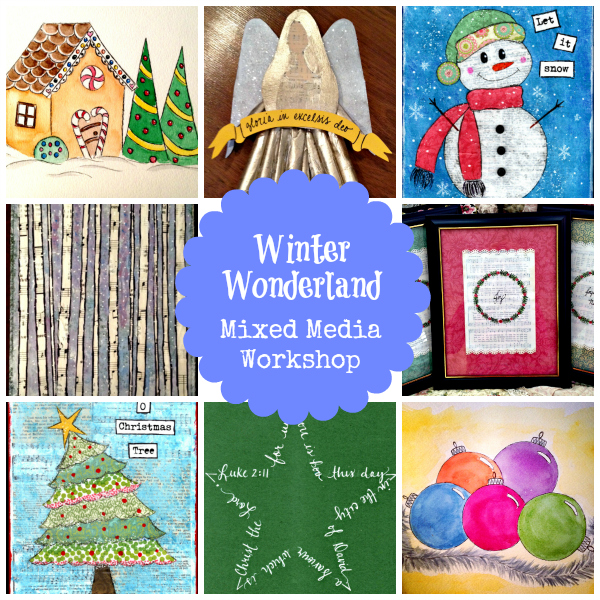 Winter Wonderland Mixed Media Workshop for Kids, Teens & Adults | 4-week Online eCourse | Flourish | alishagratehouse.com